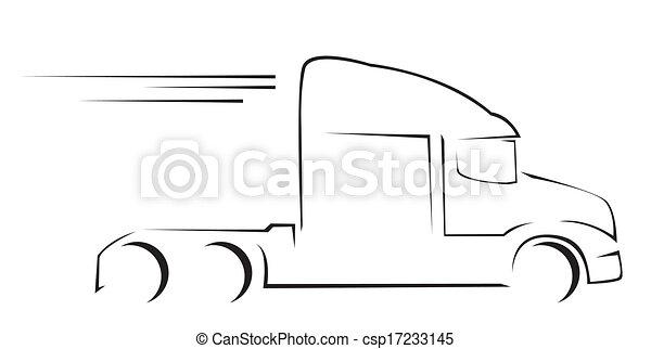 lastbil, illustration, symbol, vektor - csp17233145