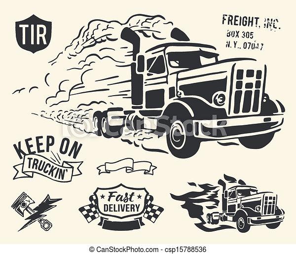 leverans, årgång, tema, lastbil - csp15788536