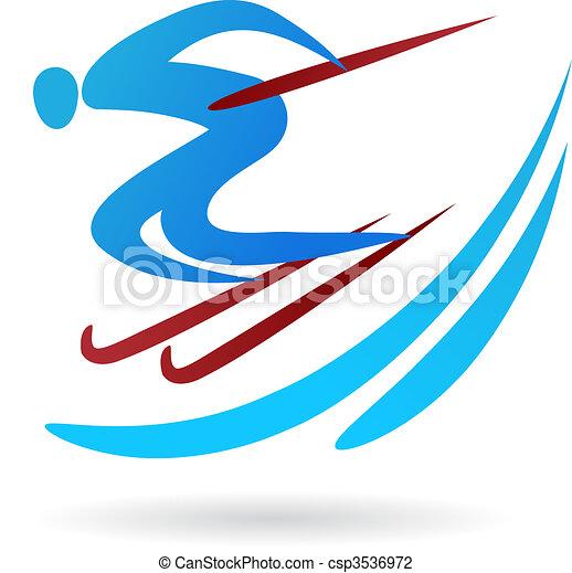 logo, skida, /, ikon - csp3536972