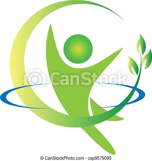 logo, vektor, hälsa, natur - csp9579095