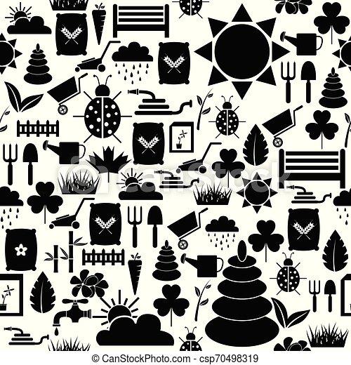 mönster, gräsmatta, icon., bakgrund, seamless - csp70498319