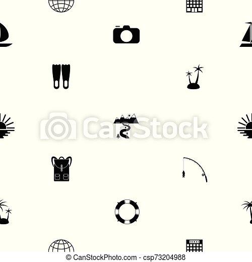 mönster, icon., turism, seamless, bakgrund - csp73204988