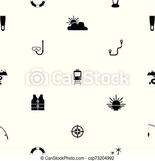 mönster, icon., turism, seamless, bakgrund - csp73204992