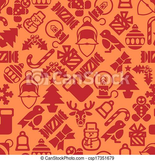 mönster, nymodig, seamless, bakgrund, jul - csp17351679