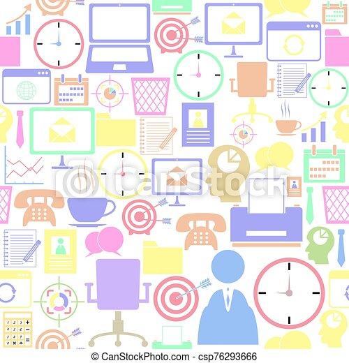 mönster, seamless, bakgrund, kontor, icon. - csp76293666