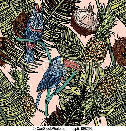 mönster, seamless, bladen, tropical frukter, toucans. - csp51898298