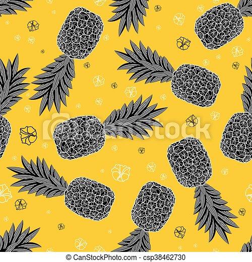 mönster, vektor, pineapples., seamless, illustration - csp38462730