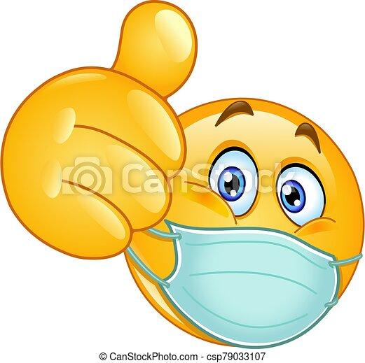 medicinsk, tumme uppe, maskera, emoticon - csp79033107