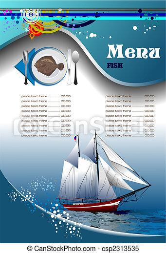 meny, fish, (cafe), restaurang - csp2313535