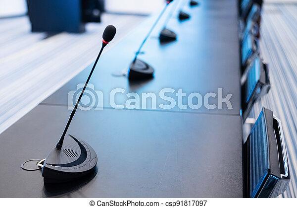 mikrofoner, möte rum, närbild, tom, conference., press - csp91817097