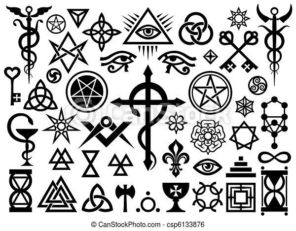 ockult, frimärken, magi, medeltida, undertecknar - csp6133876