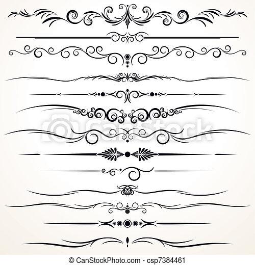 ornamental, olik, fodrar, härska, design - csp7384461