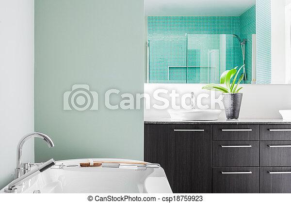 pastell, badrum, nymodig, färger, grön, användande, mjuk - csp18759923