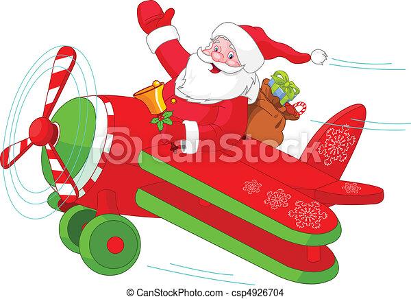 plan, jultomten, jul, hans, flygning - csp4926704