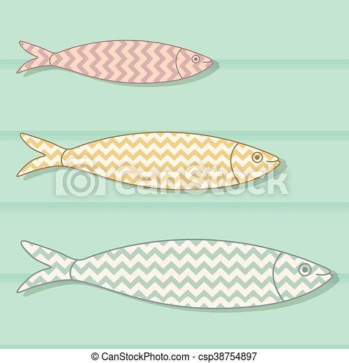 portugisisk, färgad, bakgrund., trä, fish, illustration, traditionell, mönster, vektor, sparre, sardinen, icon., geometrisk - csp38754897