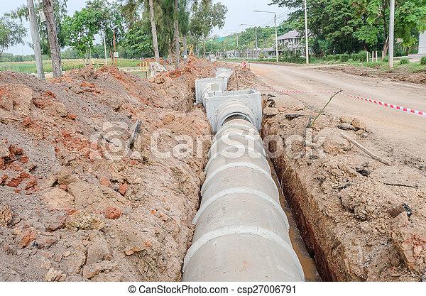 rörledning, cement - csp27006791