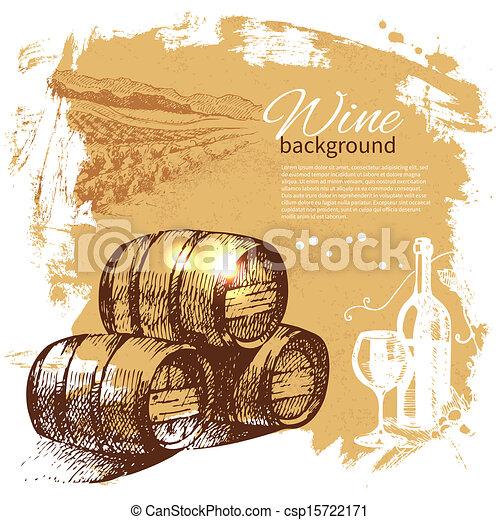 retro, plaska, hand, vin, klick, design, bakgrund., årgång, illustration., oavgjord - csp15722171