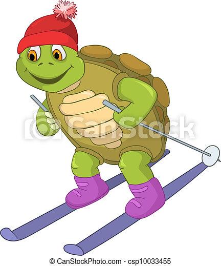 rolig, skiing., turtle. - csp10033455