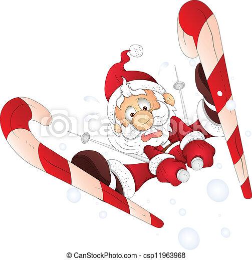 rolig, vektor, jul, jultomten, skidåkning - csp11963968