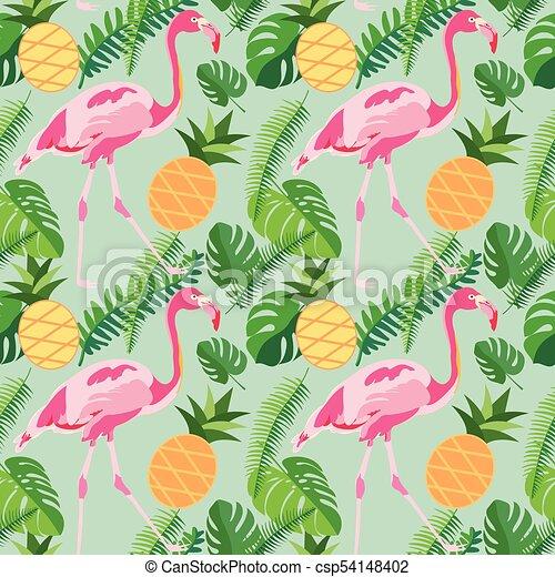 rosa, tropisk, ananas, mönster, bladen, seamless, flamingor, palm, toppmodern - csp54148402