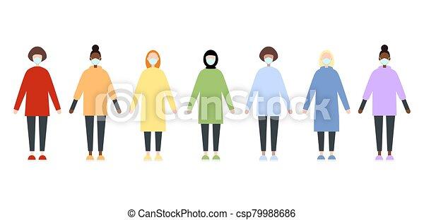 sätta, coronavirus., lägenhet, doktorn, tröttsam, stil, skura, clothes., covid-19, sköta, measures., epidemic., kvinnor, förebyggande, kläder, image., masks., vektor, lopp, pandemi, regnbåge, under, mångfaldig - csp79988686