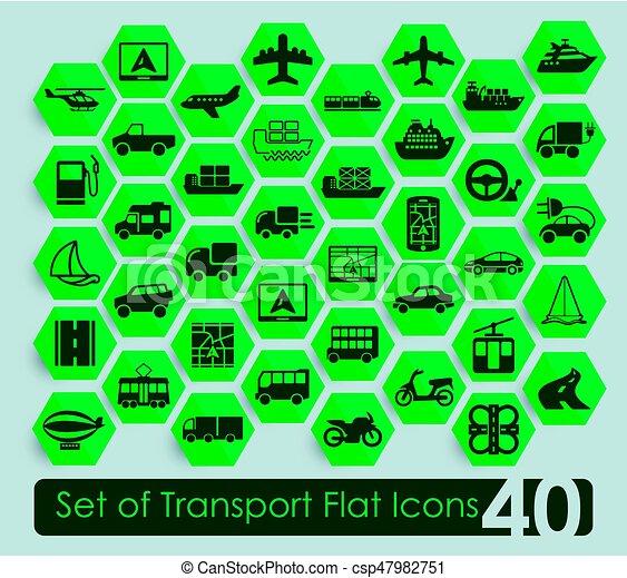 sätta, transport, ikonen - csp47982751