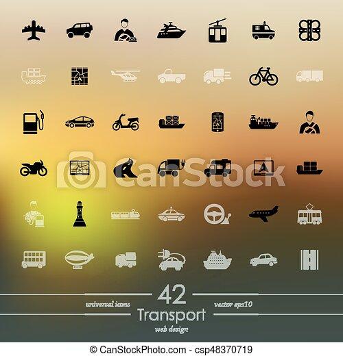 sätta, transport, ikonen - csp48370719