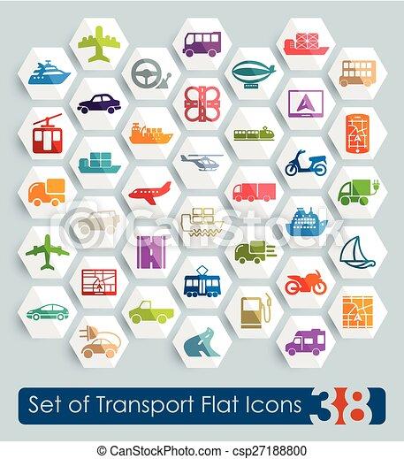 sätta, transport, ikonen - csp27188800