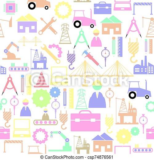 seamless, bakgrund, icon., ingenjörsvetenskap, mönster - csp74876561