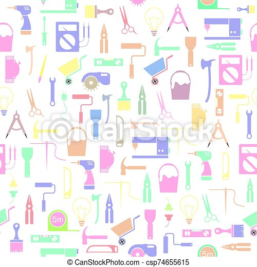 seamless, mönster, bakgrund, verktyg, diy, icon. - csp74655615