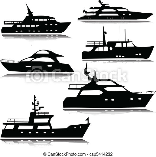 silhouettes, vektor, yachter - csp5414232
