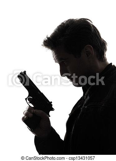 silhuett, polisman, mördare, gevär, holdingen, stående, man - csp13431057