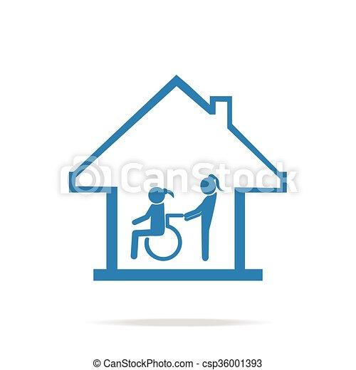 sjukvård, underteckna, handikappad, omsorg, hem, ikon - csp36001393
