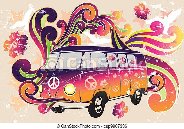 skåpbil, blomma, -, retro, driva - csp9907336
