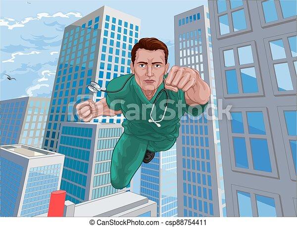sköta, hjälte, superhero, läkare, skura, flygning, toppen - csp88754411