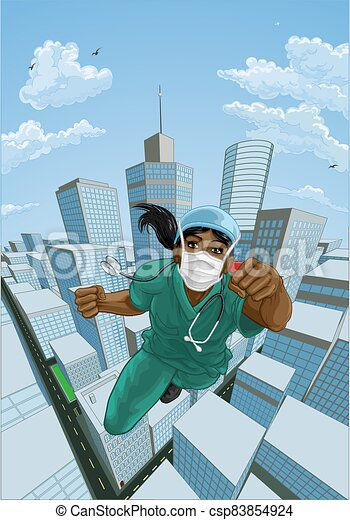 sköta, superhero, hjälte, läkare, skura, flygning, toppen - csp83854924