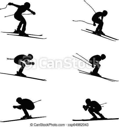 skidåkning, sport, grupp, sätta, alpin - csp64982043