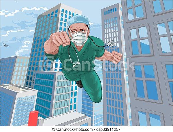 skura, toppen, läkare, sköta, superhero, flygning, hjälte - csp83911257