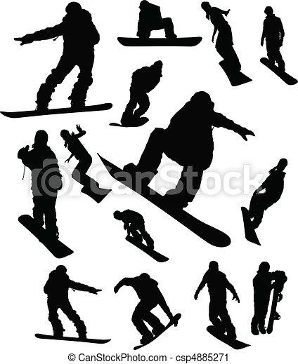 snowboarder, man, sätta, silhuett - csp4885271