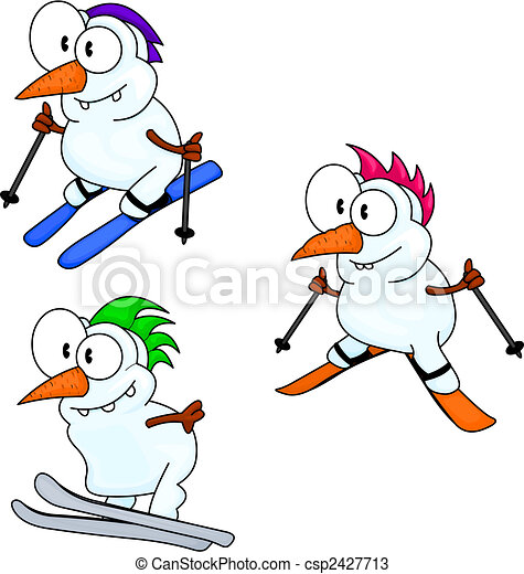 snowmen, skidåkning - csp2427713