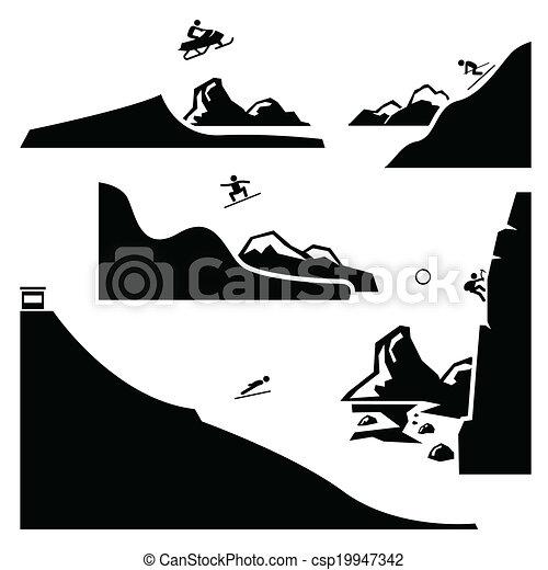 sports, sätta, 4, ytterlighet, pictogram - csp19947342