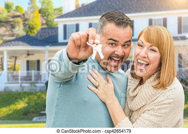 stämm, hus, par, främre del, lopp, blandad, färsk, lycklig - csp42654179