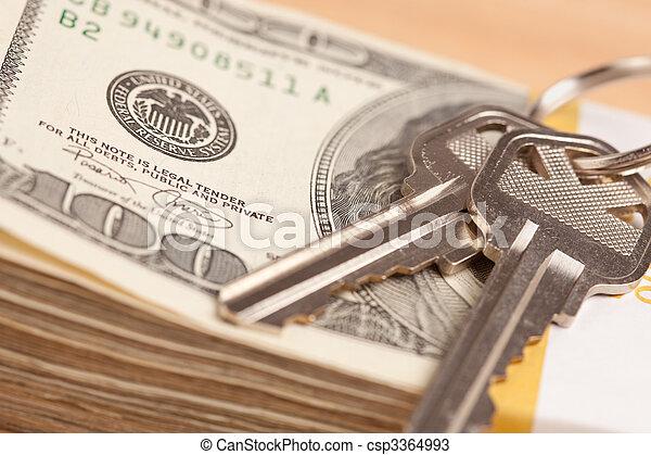 stämm, pengar, stack, hus - csp3364993