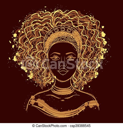 stående, afrikansk, woman. - csp39388545