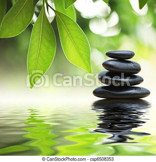 stenar, vatten, pyramid, zen, yta - csp6508353