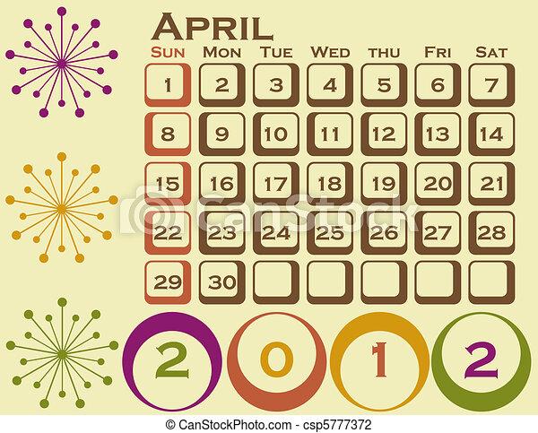 stil, sätta, 1, april, retro, kalender, 2012 - csp5777372