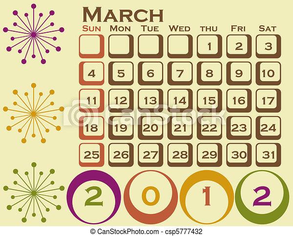 stil, sätta, mars, 1, retro, kalender, 2012 - csp5777432