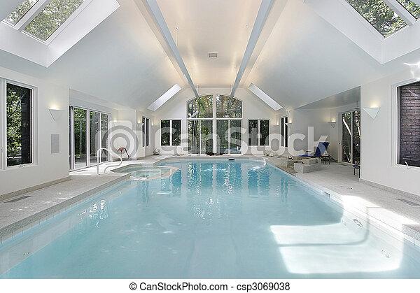 stort, hem, lyxvara, slå samman, simning - csp3069038