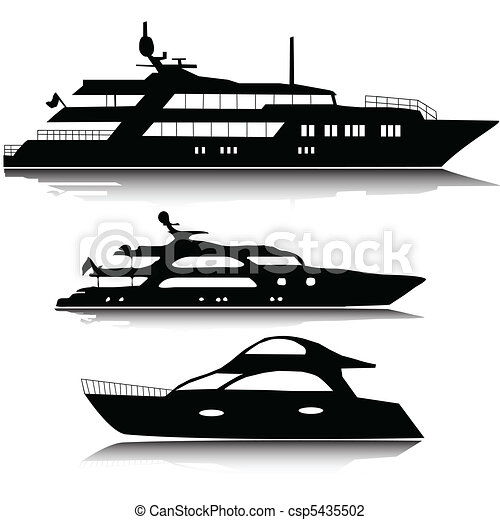 stort, silhouettes, vektor, yachter - csp5435502