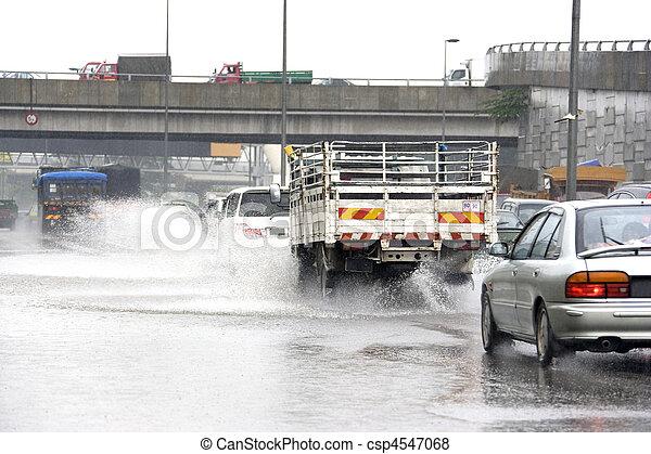 strömmande, regna, trafik - csp4547068